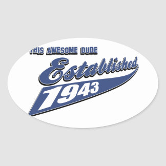 70th year old birthday designs oval sticker
