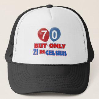 70th year old birthday designs trucker hat