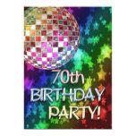 70thinvitation with disco ball and rainbow stars card