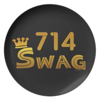 714 Area Code Swag Melamine Plate