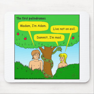 715 adam and eve palindromes cartoon mouse pad