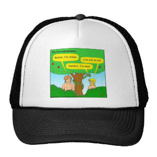 715 adam and eve palindromes cartoon trucker hat