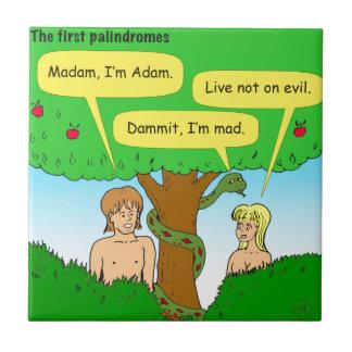 715 Adán y dibujo animado de los palindromes de la Azulejo Cuadrado Pequeño