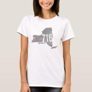 716 Heart Buffalo NY New York State Silhouette T-Shirt