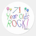 ¡71 años de la roca! etiqueta redonda