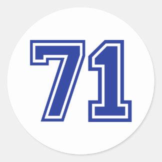 71 - número pegatina redonda