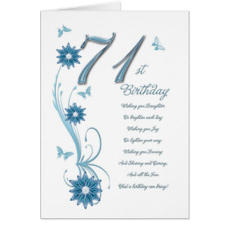 71.o cumpleaños en trullo con las flores y la tarjeta de felicitación