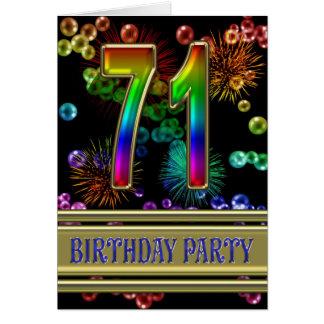 71.o Invitación de la fiesta de cumpleaños Tarjetón