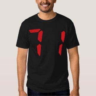71 setenta y uno números digitales del despertador remera