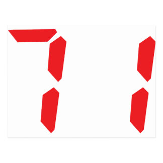 71 setenta y uno números digitales del despertador tarjeta postal