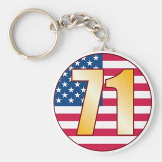 71 USA Gold Basic Round Button Keychain