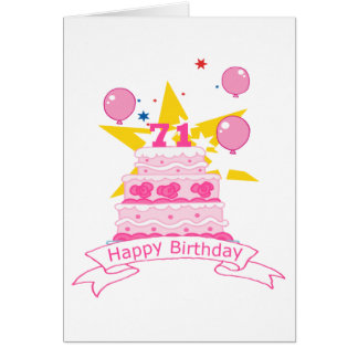 71 Year Old Birthday Cake Card