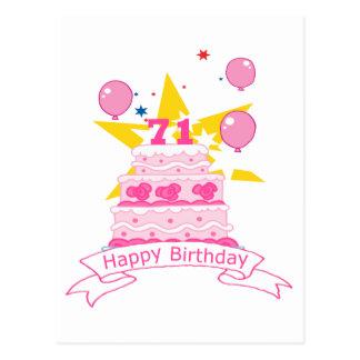 71 Year Old Birthday Cake Postcard