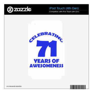 71 years old birthday designs decal for iPod touch 4G