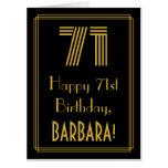 "[ Thumbnail: 71st Birthday: Art Deco Inspired Look ""71"" + Name Card ]"