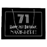 "[ Thumbnail: 71st Birthday — Art Deco Inspired Look ""71"" & Name Gift Bag ]"