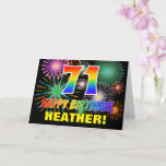[ Thumbnail: 71st Birthday: Bold, Fun, Fireworks, Rainbow 71 Card ]
