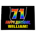 [ Thumbnail: 71st Birthday: Bold, Fun, Simple, Rainbow 71 Gift Bag ]
