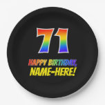 [ Thumbnail: 71st Birthday: Bold, Fun, Simple, Rainbow 71 Paper Plate ]