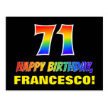 [ Thumbnail: 71st Birthday: Bold, Fun, Simple, Rainbow 71 Postcard ]