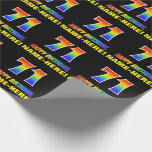 [ Thumbnail: 71st Birthday: Bold, Fun, Simple, Rainbow 71 Wrapping Paper ]