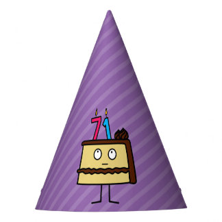 71st Birthday Cake with Candles Party Hat