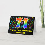 [ Thumbnail: 71st Birthday: Colorful Music Symbols & Rainbow 71 Card ]