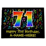 [ Thumbnail: 71st Birthday - Colorful Music Symbols, Rainbow 71 Gift Bag ]
