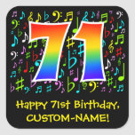 [ Thumbnail: 71st Birthday: Colorful Music Symbols, Rainbow 71 Sticker ]