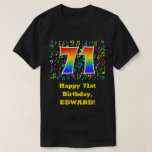 [ Thumbnail: 71st Birthday: Colorful Music Symbols, Rainbow 71 T-Shirt ]