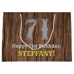[ Thumbnail: 71st Birthday: Country Western Inspired Look, Name Gift Bag ]