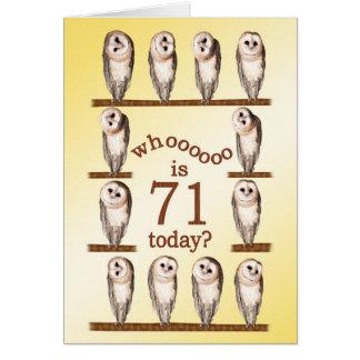 71st birthday, Curious owls card. Card