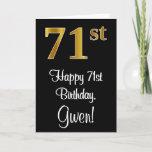 [ Thumbnail: 71st Birthday ~ Elegant Luxurious Faux Gold Look # Card ]