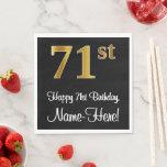 [ Thumbnail: 71st Birthday ~ Elegant Luxurious Faux Gold Look # Napkins ]