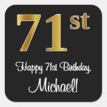 [ Thumbnail: 71st Birthday – Elegant Luxurious Faux Gold Look # Sticker ]