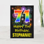 [ Thumbnail: 71st Birthday: Fun Fireworks Pattern + Rainbow 71 Card ]