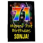 [ Thumbnail: 71st Birthday: Fun Fireworks Pattern + Rainbow 71 Gift Bag ]