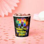 [ Thumbnail: 71st Birthday: Fun Fireworks Pattern + Rainbow 71 ]