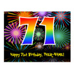 [ Thumbnail: 71st Birthday – Fun Fireworks Pattern + Rainbow 71 Postcard ]