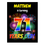 "[ Thumbnail: 71st Birthday - Fun Fireworks, Rainbow Look ""71"" Postcard ]"