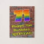 [ Thumbnail: 71st Birthday: Fun Graffiti-Inspired Rainbow 71 Jigsaw Puzzle ]