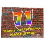 [ Thumbnail: 71st Birthday: Fun, Graffiti-Inspired Rainbow # 71 Gift Bag ]