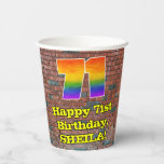 [ Thumbnail: 71st Birthday: Fun Graffiti-Inspired Rainbow 71 ]