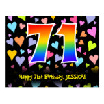 [ Thumbnail: 71st Birthday: Fun Hearts Pattern, Rainbow 71 Postcard ]