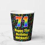 [ Thumbnail: 71st Birthday: Fun Music Notes Pattern, Rainbow 71 ]