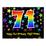 [ Thumbnail: 71st Birthday: Fun Stars Pattern, Rainbow 71, Name Postcard ]