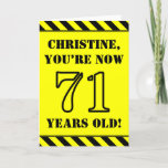 [ Thumbnail: 71st Birthday: Fun Stencil Style Text, Custom Name Card ]