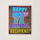 [ Thumbnail: 71st Birthday ~ Fun, Urban Graffiti Inspired Look Jigsaw Puzzle ]