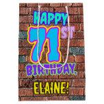 [ Thumbnail: 71st Birthday: Fun, Urban Graffiti Inspired Look Gift Bag ]