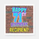 [ Thumbnail: 71st Birthday ~ Fun, Urban Graffiti Inspired Look Napkins ]